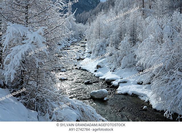 Switzerland, Valais, Val d'Herens, village of Evolene in winter, hiking along river Borgne