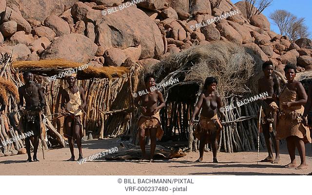 Namibia Africa Damara tribe traditional life in Damaraland in Damara Living Museum dancing tribe