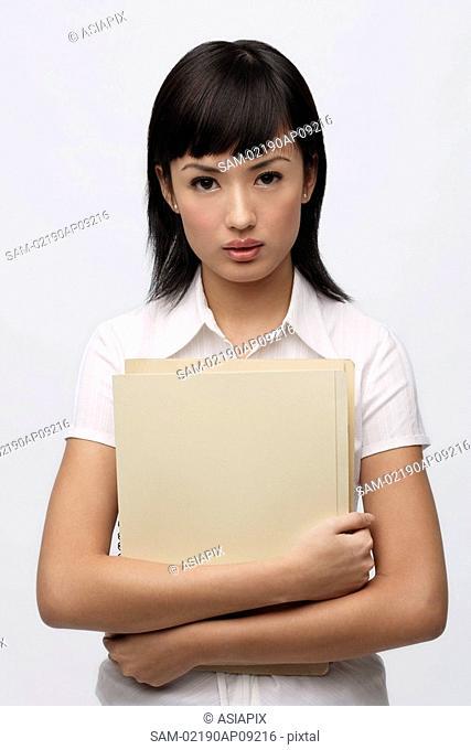 Secretary holding files