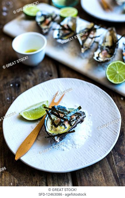 Oysters with wasabi, nori and lime dressing