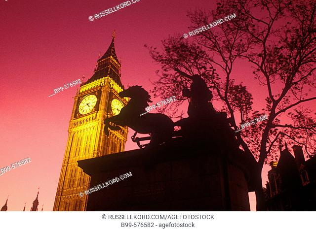 Boadicea Statue, Big Ben, Parliament, London, England, Uk