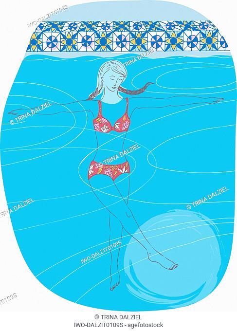 Woman Doing Underwater Aerobics