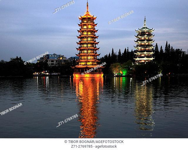 China, Guangxi, Guilin, Sun & Moon, Twin Pagodas, Shan Lake,