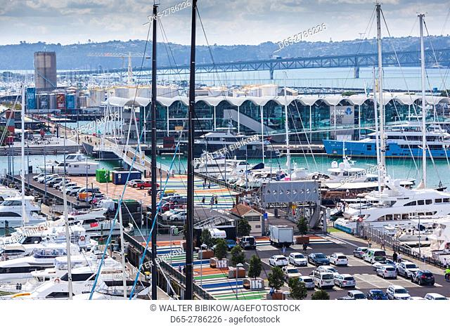 New Zealand, North Island, Auckland, Viaduct Harbour, elevated view