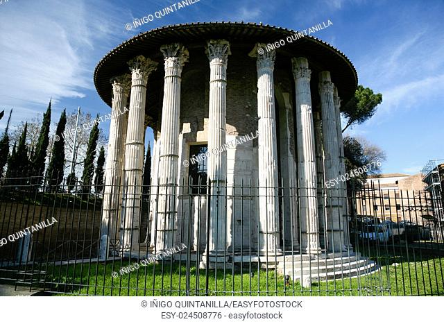 ruins of the ancient roman Temple of Hercules Victor or the winner, in Bocca Verita Square, Rome, Italy, Europe
