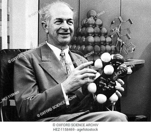 Linus Pauling, American chemist, c1954. Pauling (1901-1994) won the Nobel Prize for Chemistry in 1954 for his work on investigating the nature of chemical bonds