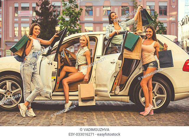 Girl car shopping bag Stock Photos and Images | age fotostock