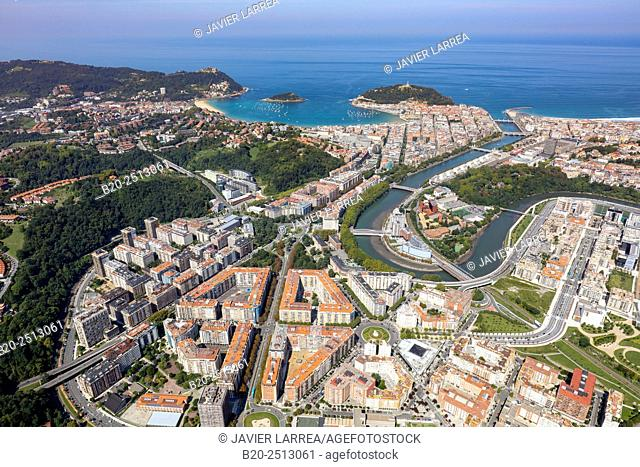 Aerial view. Urumea river. Donostia. San Sebastian. Gipuzkoa. Basque Country. Spain