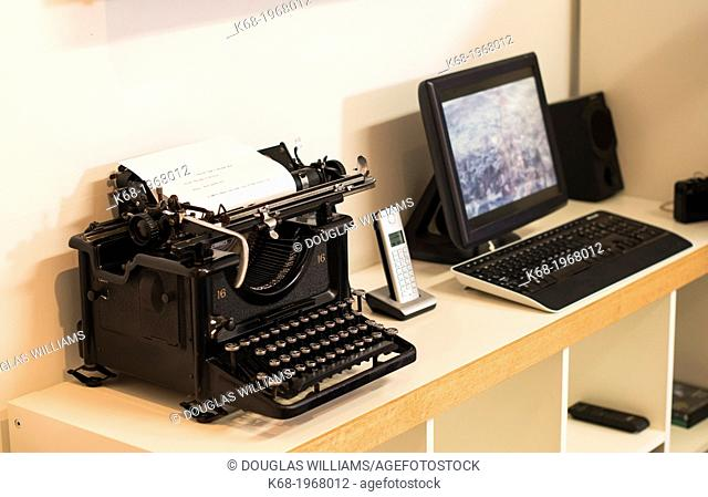 Computer with an old typewriter