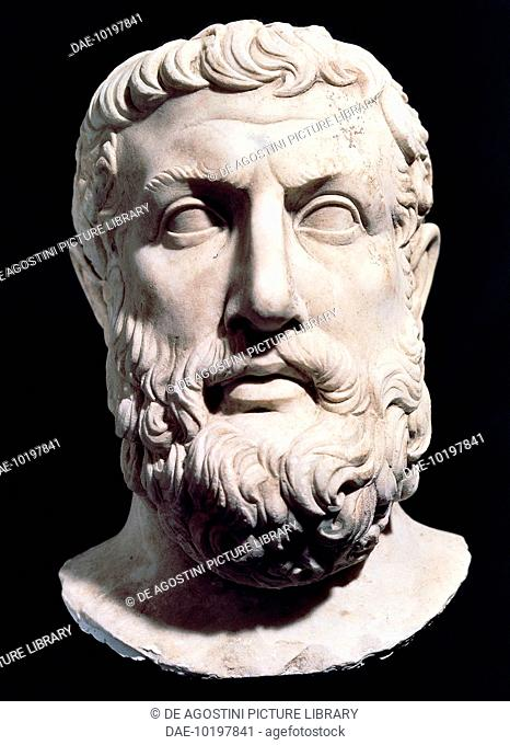 Bust of Parmenides (Elea, 515 BC-450 BC), pre-Socratic Greek philosopher. Marble statue, from Velia, Campania, Italy