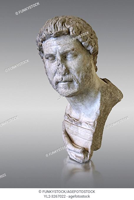 Roman marble portrait bust of Emperor Hadrian, 117-138 AD found in the Horti Tauriani, Rome. The bust portrays an elderly Hadrian with a well worn expression...