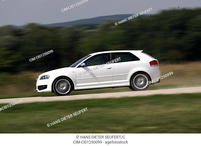 Audi S3, model year 2006-, white, driving, side view, country road