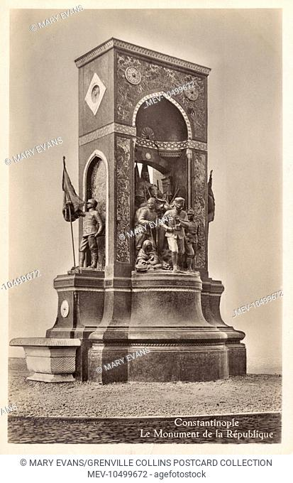 Istanbul, Turkey - The Turkish (Taksim) Republic Monument. The Symbol of the Republic - where all the demonstrations take place