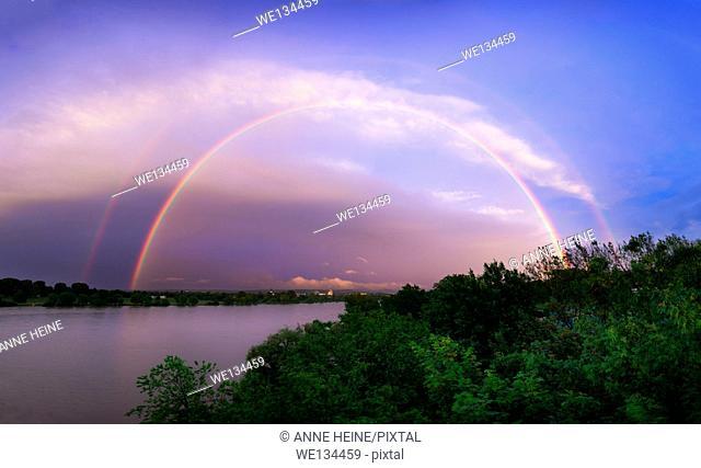 Double Rainbow across River Rhine, taken from bridge in Bonn, Germany
