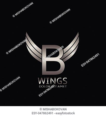 B letter logo. Silver wings symbol. Silver B letter logo template for air company