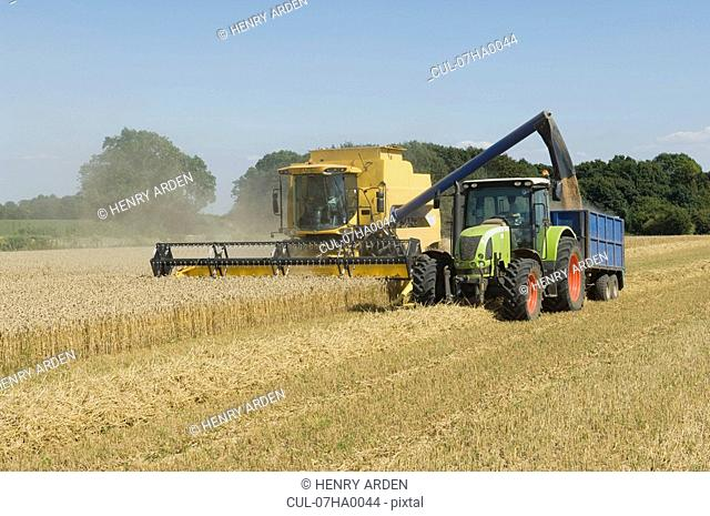 Combine harvester with tractor