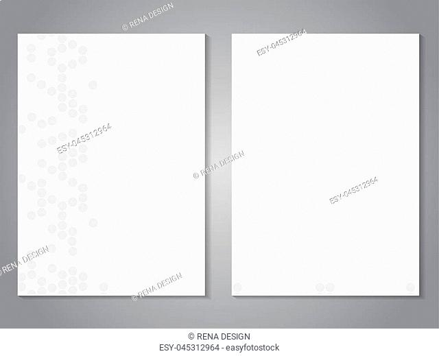 Vector modern brochure. Magazine cover designs. Flyer with grey dotted background. Layout template. Poster of grey and white color. - illustration