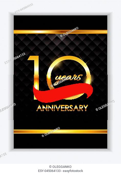 Template 10 Years Anniversary Congratulations Vector Illustration EPS10