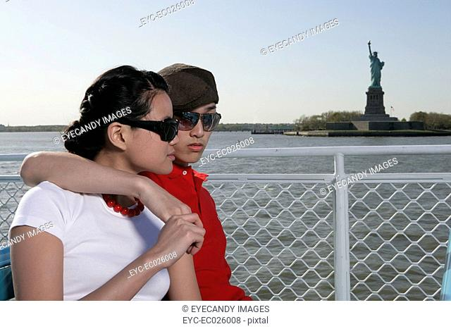 Young couple on a ferryboat