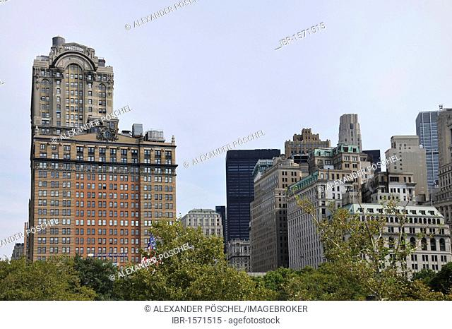 Skyline, Battery Park, Financial District, New York City, New York, USA, United States of America, North America
