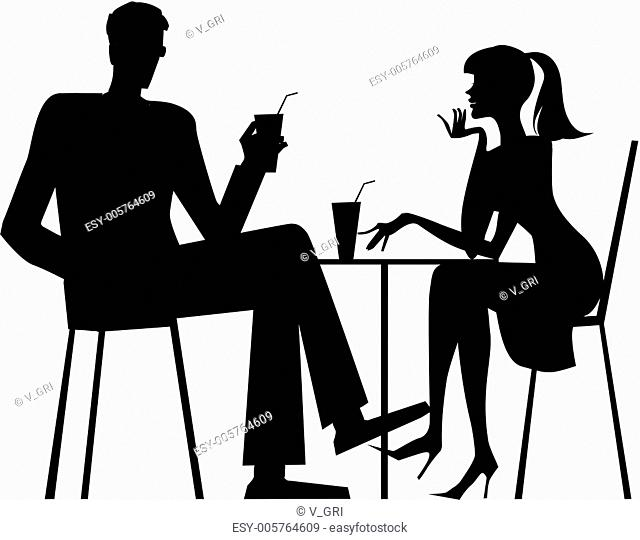 Silhouette of a couple at cafe