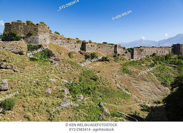 Gjirokastra or Gjirokaster, Albania. The Castle or Citadel. Gjirokastra is a UNESCO World Heritage Site
