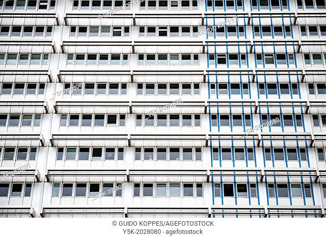 Alexanderplatz, East-Berlin, Berlin, Germany. The facade of the editorial office building of Berliner Zeitung