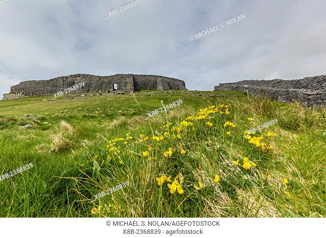 Dun Aengus, a late bronze-age fortification site outside the village of Kilronan, Inishmore, Aran Islands, Ireland