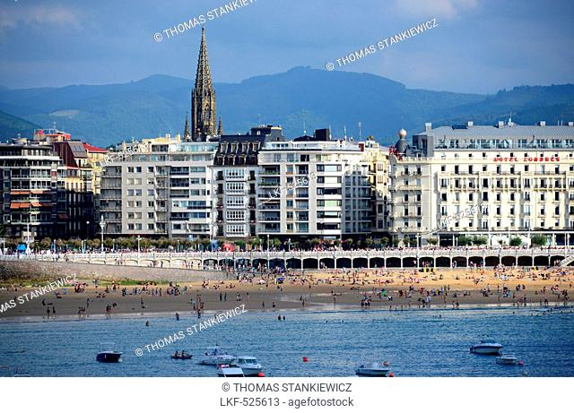 View towards San Sebastian, Basque country, North-Spain, Spain