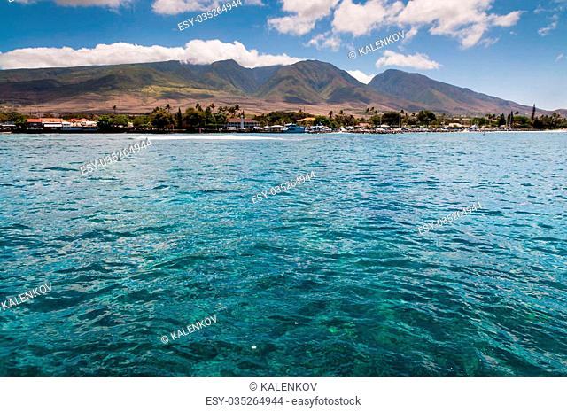 Maui mountains and city of Lahaina view from the water