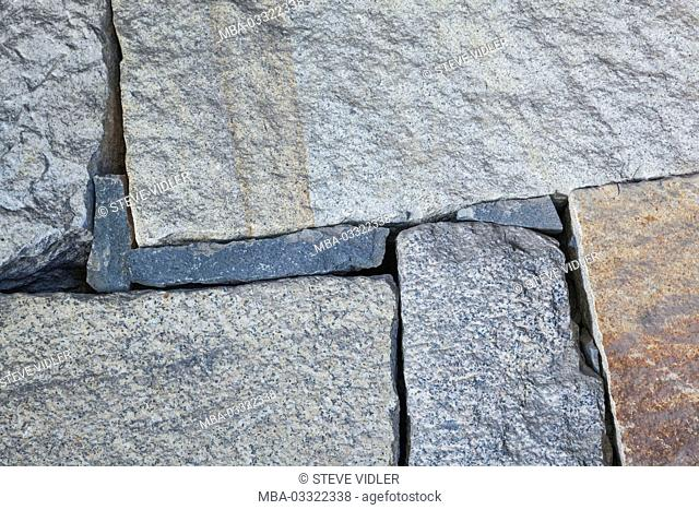Japan, Honshu, Aichi, Nagoya, castle Nagoya, wall, stones, construction method, sample, medium close-up, detail
