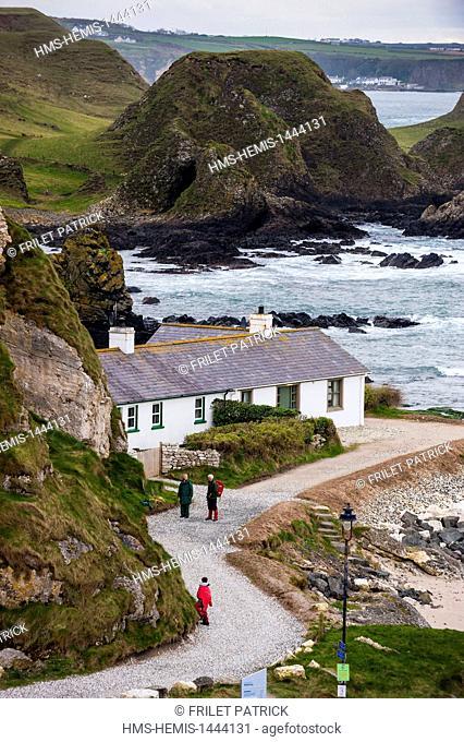 United Kingdom, Northern Ireland, County Antrim, Ballintoy harbor and coast