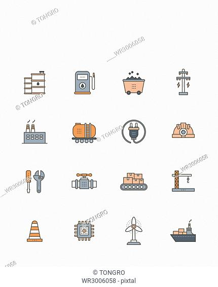 Set of icons related to industries
