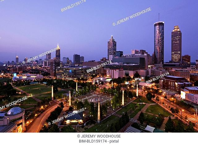 High rise buildings in Atlanta cityscape at night, Georgia, United States