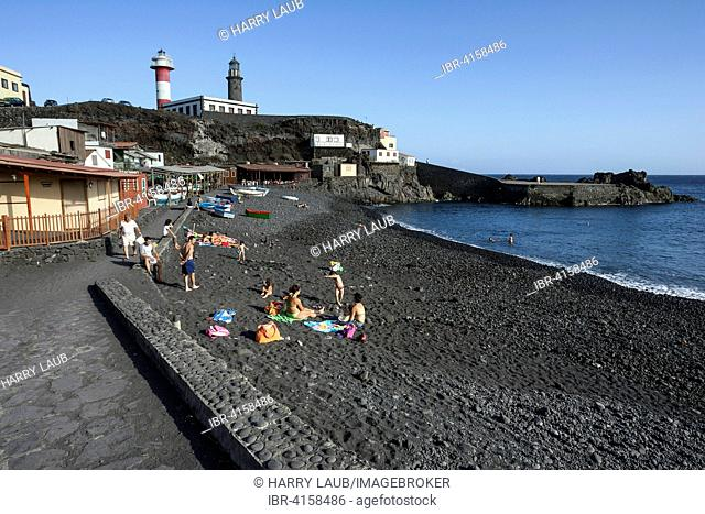 Playa del Faro, the Fuencaliente Lighthouses behind, La Palma, Canary Islands, Spain