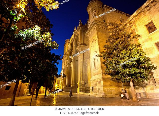 Night time view toward Granada cathedral