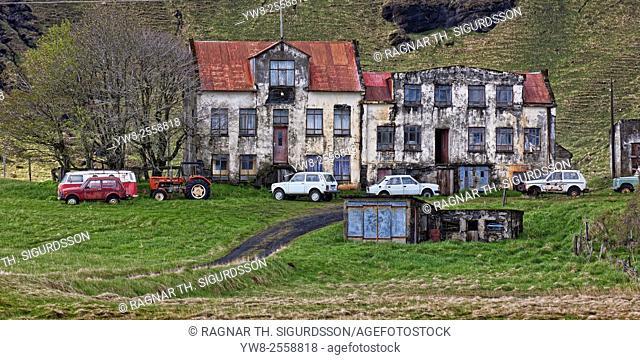 Old Farm and school named Holmur, Kirkjubaejarklaustur, Iceland
