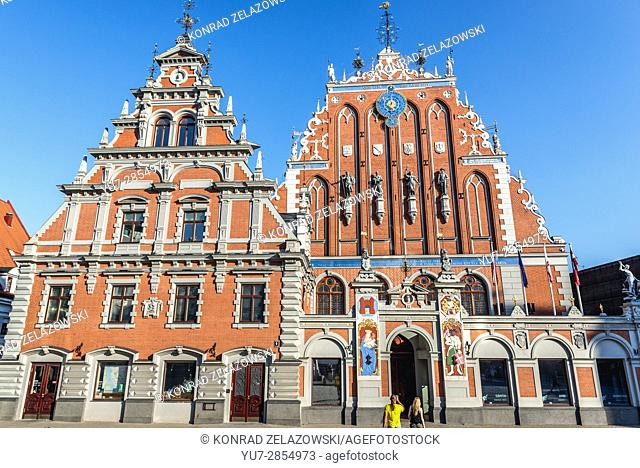 Front view of House of Blackheads building on the Old Town of Riga, capital city of Republic of Latvia