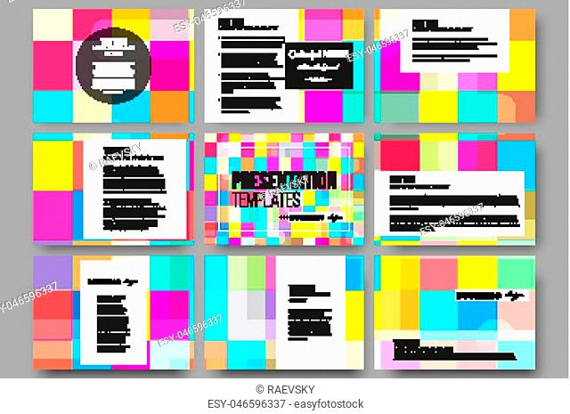 Set of 9 vector templates for presentation slides. Abstract colorful business background, modern stylish vector texture