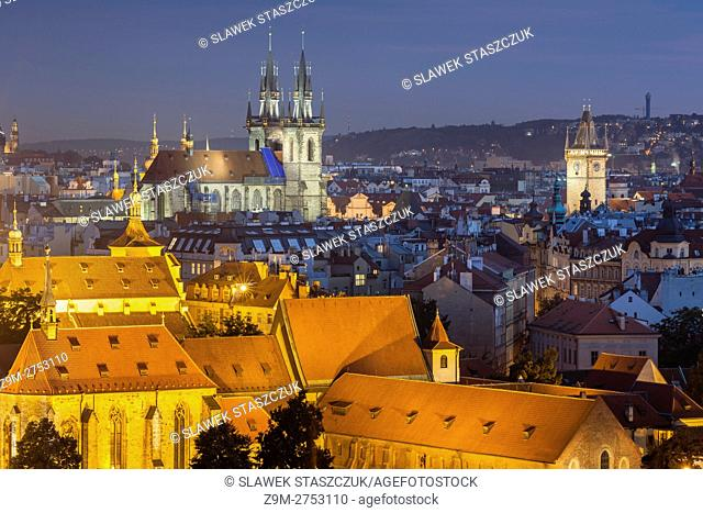 Night falls over Prague old town, Czech Republic