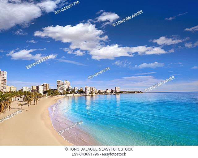 Albufereta beach of Alicante in Costa Blanca of Spain
