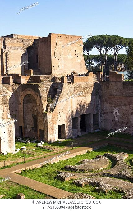 Domus Augustana is the modern name for the domestic wing of the ancient and vast Roman Palace of Domitian (92 AD) on the Palatine Hill. Rome. Italy