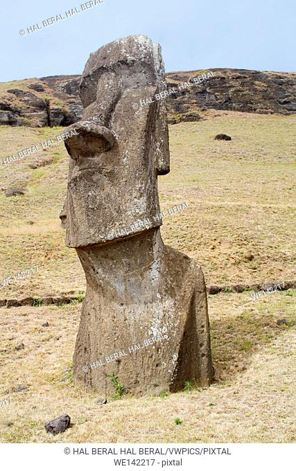 Statue (moai) at Rano Raraku. Easter Island, Chile.