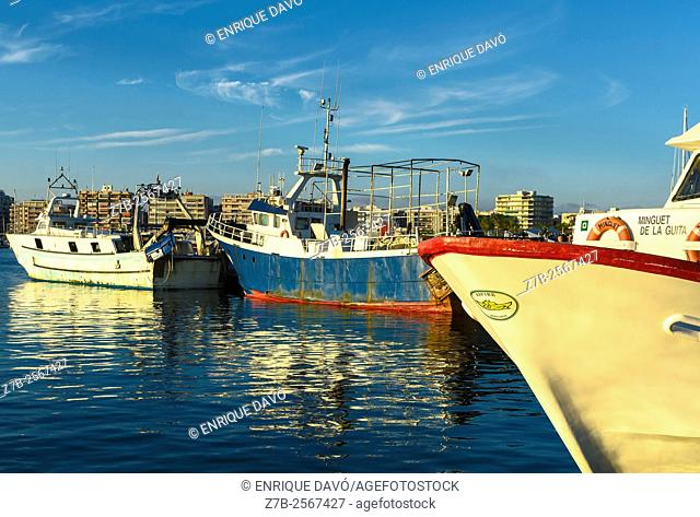 Some boats view in the port of Santa Pola, Alicante, Spain