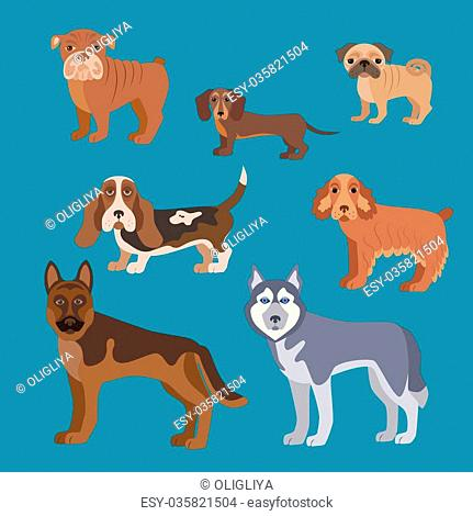 Dog breed set. Illustration of dog breed in flat style. Dog breed vector icons isolated. Dog breed silhouette for dog theme design