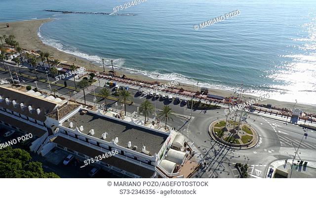 Benalmádena beach aerial view, Málaga, Andalusia, Spain
