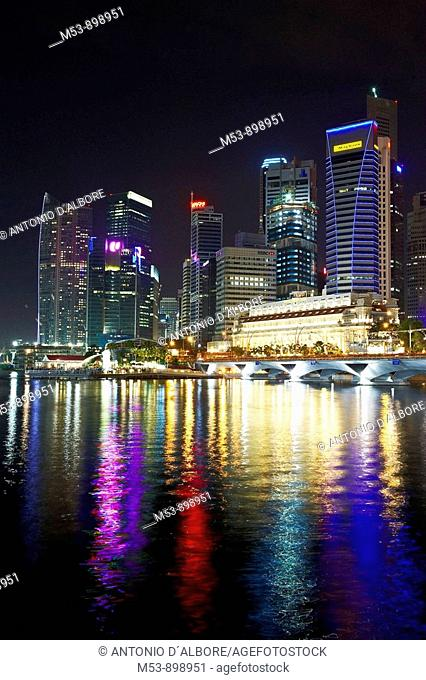night skyline of singapore business district and marina bay  asia