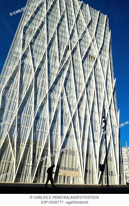 View of a modern building Telefonica Headquarters in the Diagonal mar district, Barcelona,Spain