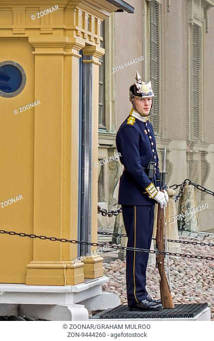 Guard At The Royal Palace Stockholm Sweden