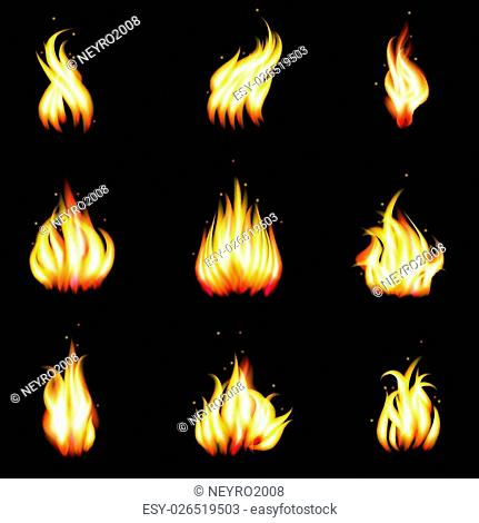 Set of vector realistic fire. Heat and blaze, energy and bonfire illustration